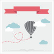 Retro vector card with aerostat flying in the clouds - 76392893
