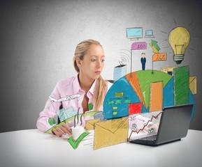 Businesswoman analyzes