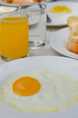 fried egg and juice