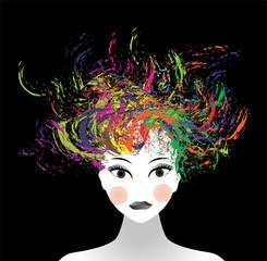 viso di donna e schizzi di colore