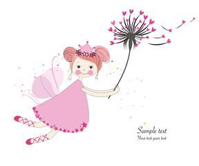 Cute fairytale with dandelion greeting card