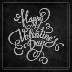 Typography Valentine's Day cards. Caption chalk on a blackboard