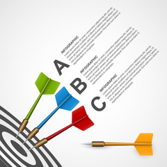 3d concept infographic template target with darts.