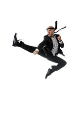 funny businessman jumping on the air in karate kick attack