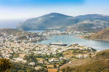 cruise ship and cityscape of Skala
