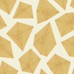 Seamless pattern of 3D asymmetric abstract objects.