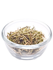 bowl of rosemary herb isolated