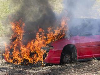 Car engulfed by flames