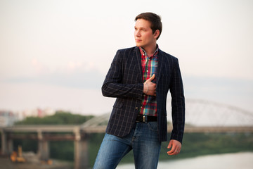 Portrait of young fashion man outdoor