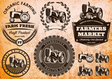 set of labels with a tractor for livestock and crop - 76396270