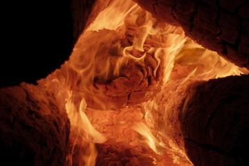 Burning firewood logs