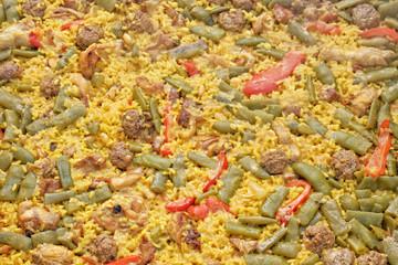 Typical Spanish paella macro shot