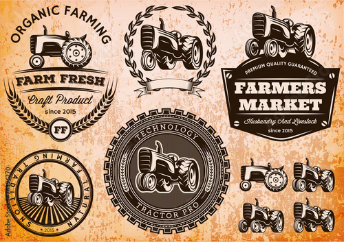 set of labels with a tractor for livestock and crop