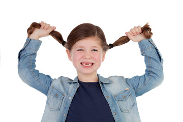 Funny little girl toothless pulling her pigtails