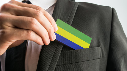 Wooden card painted as the Gabon flag