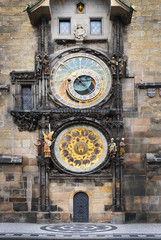 Medieval Astronomic clock (Orloj) on the Old Town Hall tower at