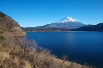 Mountain fuji and Motosu lake in winter season