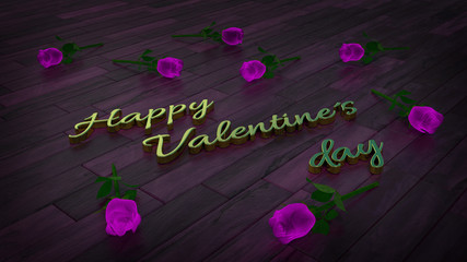Happy valentines day theme with purple roses