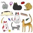 かわいい猫とグッズのセット
