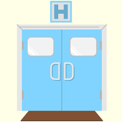 Flat color vector icon for hospital entrance