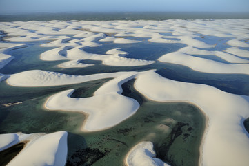 Aerial view of Lencois Maranhenses National Park, Brazil