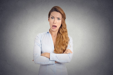 angry young woman with disgusted face expression