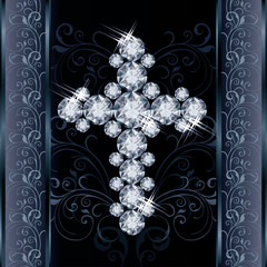 Diamond Christian Cross, greeting card, vector illustration