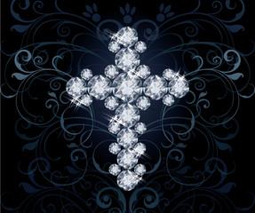 Diamond Christian Cross, invitation card, vector illustration