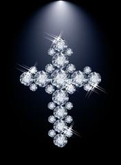 Diamond Christian Cross, vector illustration