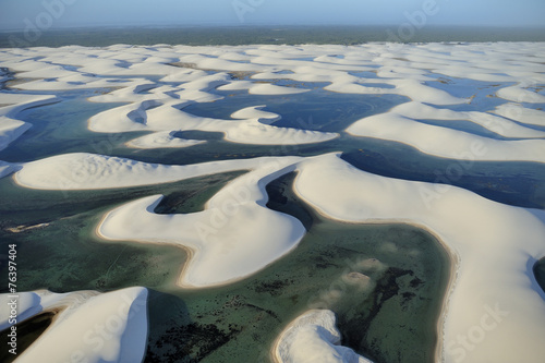 Deurstickers Zandwoestijn Aerial view of Lencois Maranhenses National Park, Brazil