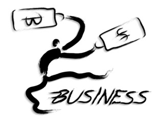 Businessmen is sales promotion activities. Calligraphy Arts Desi