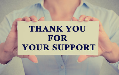businesswoman hands holding card thank you for your support