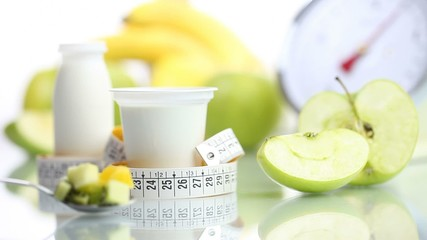 diet food yogurt teaspoon fruit Apple meter and scales