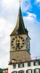 Zurich's Clock Tower, Switzerland.