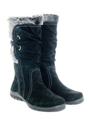 Black female winter boots isolated on white background