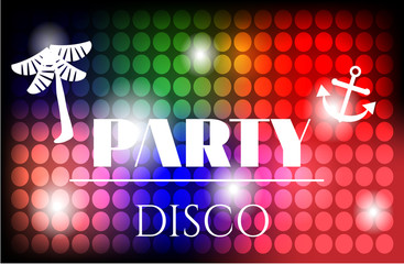 Poster of disco party with colorful circles, white palm tree and