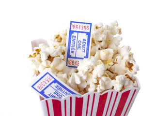 Pop Corn box with tickets isolated on white background