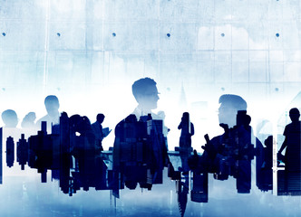 Business People Silhouette Working Meeting Conference Concept