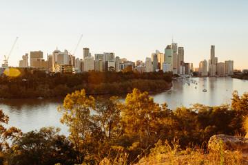 Modern Australian city at sunset