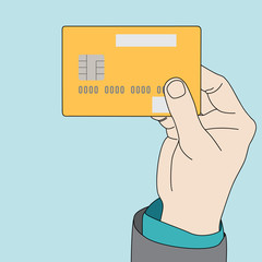 Businessman hand holding credit card, vector format