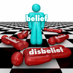 Belief Vs Disbelief One Confident Person with Faith Stands Doubt