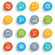 Communication icons with color buttons.