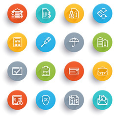 Banking icons with color buttons.