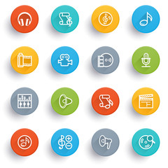 Audio video icons with color buttons.