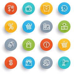 Commerce icons with color buttons.