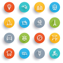 Travel icons with color buttons.