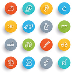 Medicine icons with color buttons.