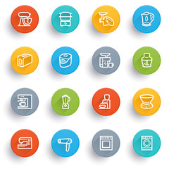 Home appliances icons with color buttons.