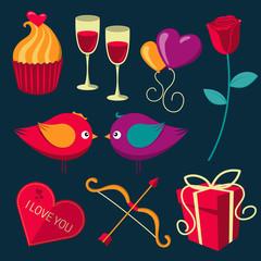 Saint Valentine's Day objects set.