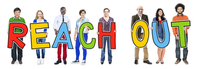 Multiethnic Group of People Holding Reach Out Concept
